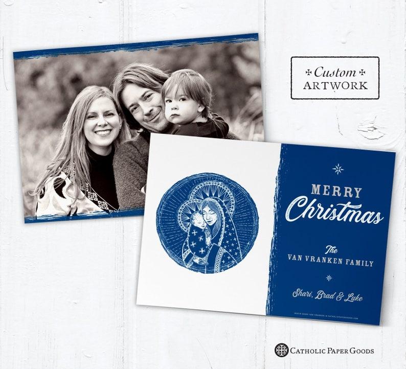 Catholic Christmas Photo Card Customizable Mary & Jesus  DIY image 0