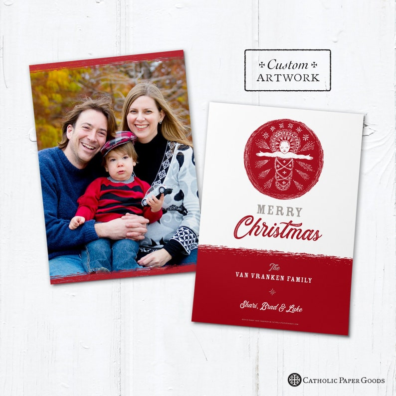 Catholic Christmas Photo Card Customizable Baby Jesus  DIY  image 0
