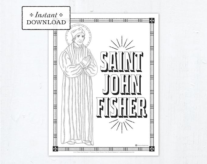 Catholic Coloring Page - Saint John Fisher - Catholic Saints - Printable Coloring Page - Digital - PDF