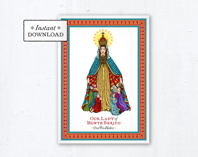 """Our Lady of Monte Berico Novena Marian Card - Art Print - Instant Download - Downloadable PDF 5""""x7"""" - Catholic Printable Card Marian Art"""