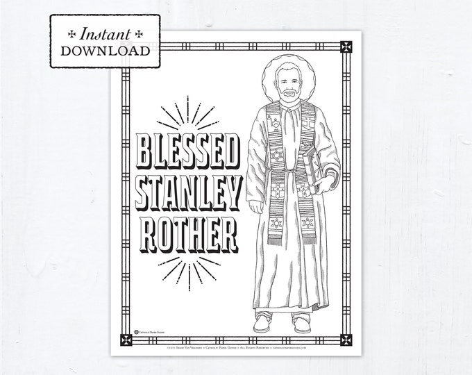 Blessed Stanley Rother Coloring Page, Catholic Coloring Page, Catholic Saints, Printable Coloring Page, Digital, PDF Coloring Page