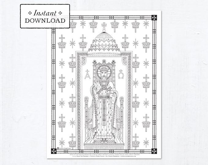 Catholic Coloring Page - Christ the King - Catholic Saints - Printable Coloring Page - Digital - PDF