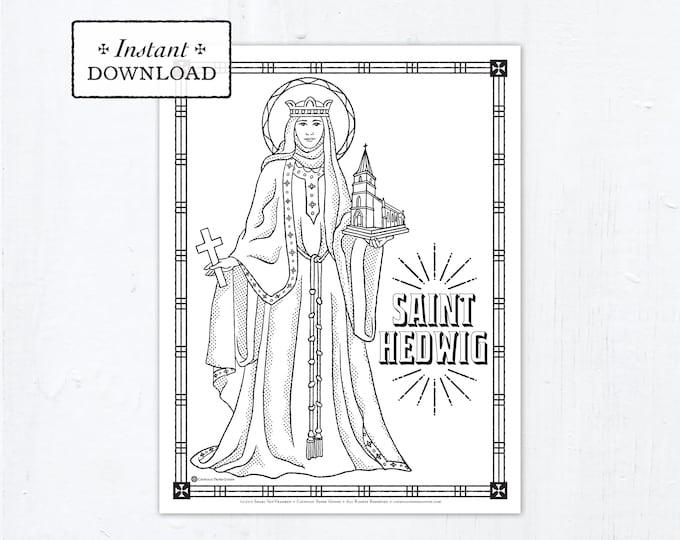 Catholic Coloring Page - Saint Hedwig - Catholic Saints - Printable Coloring Page - Digital - PDF