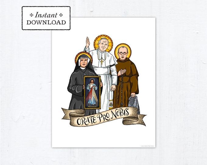 "Polish Saints Frameable Art Print Saint Poster, Instant Download, Downloadable PDF 8""x10"" Saint Squad Pope John Paul II Faustina Max Kolbe"