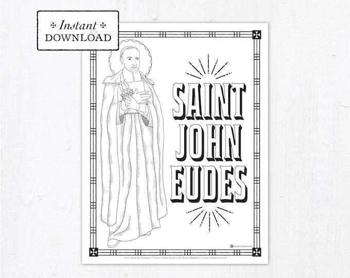 Catholic Coloring Page, Saint John Eudes Coloring Page, Catholic Saints, Printable Coloring Page, Digital Coloring Page, PDF
