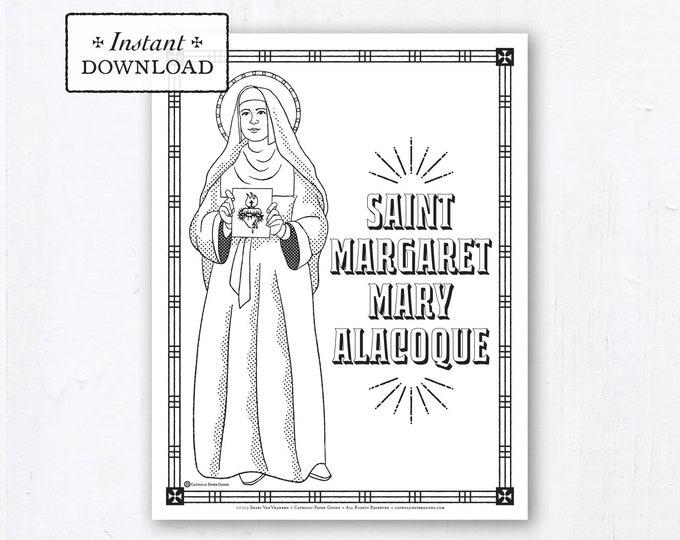 Catholic Coloring Page - Saint Margaret Mary Alacoque - Catholic Saints - Printable Coloring Page - Digital - PDF