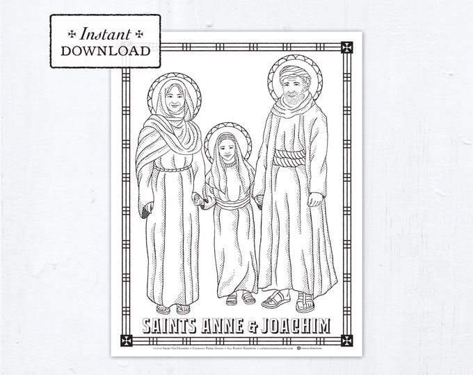 Catholic Coloring Page - Saints Anne and Joachim - Catholic Saints - Printable Coloring Page - Digital - PDF St Anne Joachim Download
