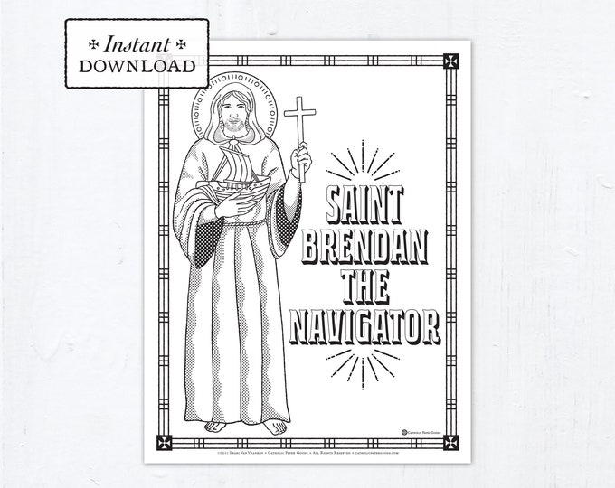 Catholic Coloring Page - Saint Brendan the Navigator - Catholic Saints - Printable Coloring Page - Digital - PDF