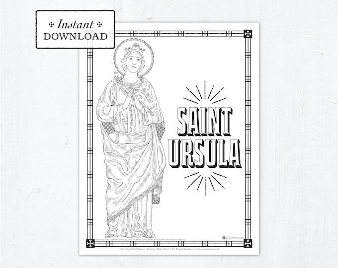 Catholic Coloring Page, Saint Ursula Coloring Page, Catholic Saints, Printable Coloring Page, Digital Coloring Page, PDF