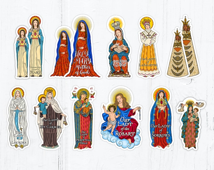 Marian 3 inch AND 4 Inch Die Cut Vinyl Stickers Peel & Stick Catholic Vinyl Stickers Waterproof Decals Blessed Virgin Mary Stickers