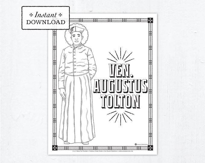 Catholic Coloring Page, Venerable Augustus Tolton Coloring Page, Catholic Saints, Printable Coloring Page, Digital Coloring Page, PDF