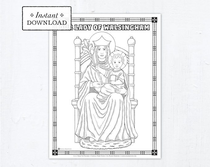 Catholic Coloring Page, Our Lady of Walsingham, Catholic Marian Coloring Page, Printable Coloring Page, Digital Coloring Page, PDF