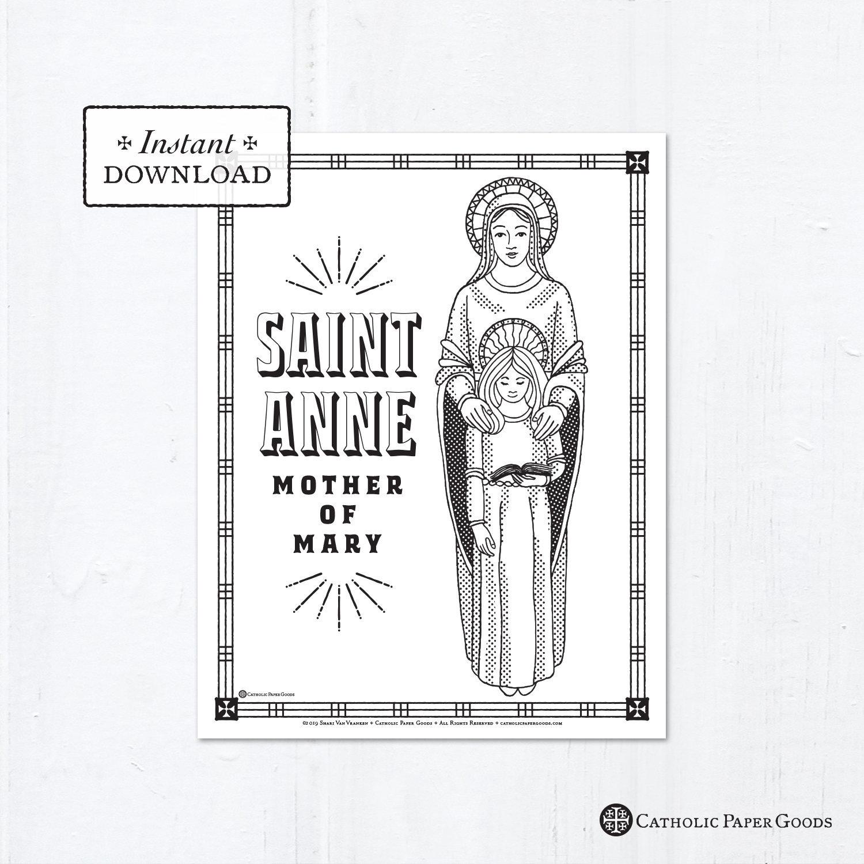 Catholic Coloring Page Saint Anne Catholic Saints Printable Coloring Page Digital Pdf