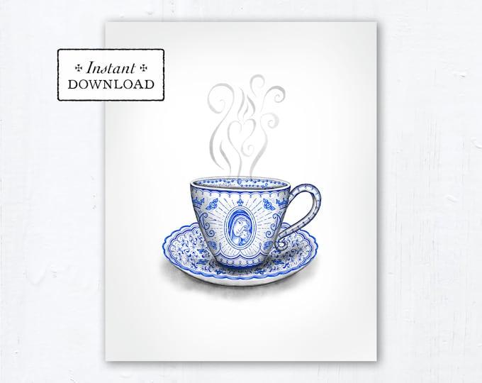 "Marian Teacup Art Print - Instant Download - Catholic Mother's Day Marian Art - DIY Downloadable PDF 8""x10"" Catholic Printable Art"