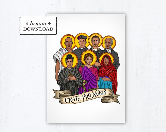 Saints of Color 5x7 Card Art Print, Instant Download, Downloadable PDF Saint Squad Josephine Bakhita Martin de Porres Charles Lwanga