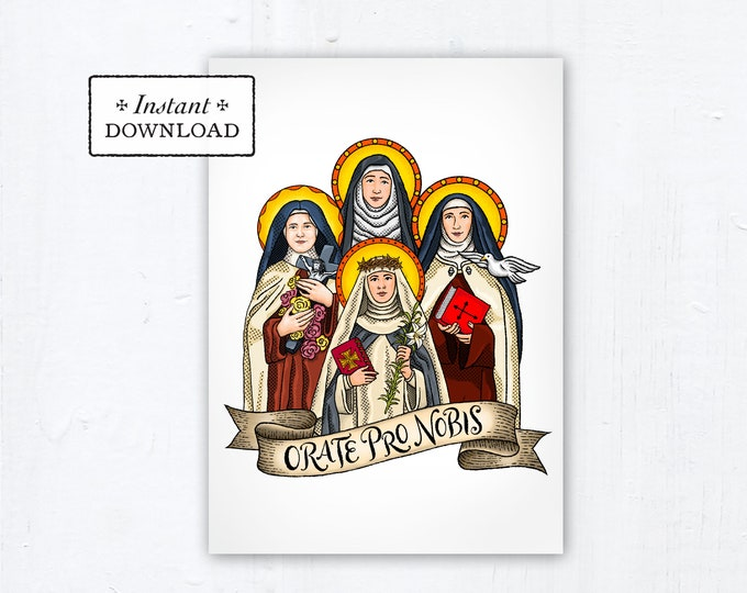 Female Doctors of the Church 5x7 Card Art Print, Instant Download, Downloadable PDF Saint Squad Therese Catherine Siena Teresa Hildegard