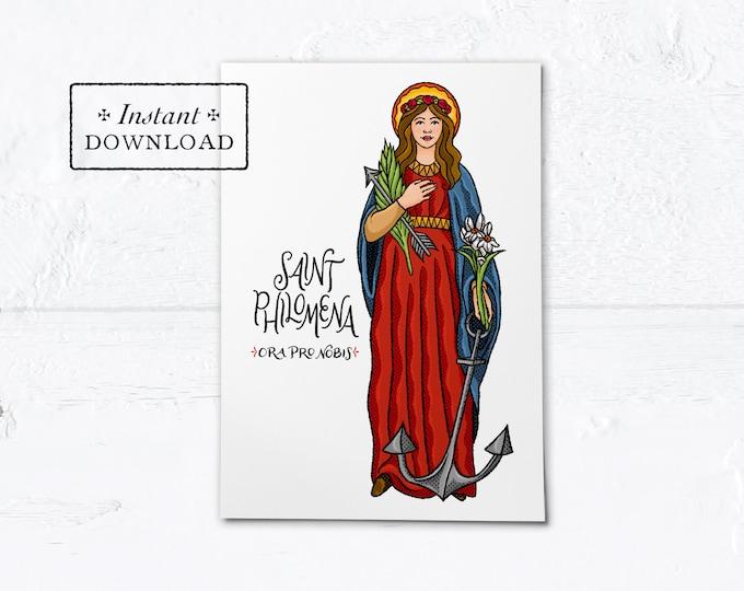 "St. Philomena Card - Art Print - Instant Download - DIY Downloadable PDF 5""x7"""