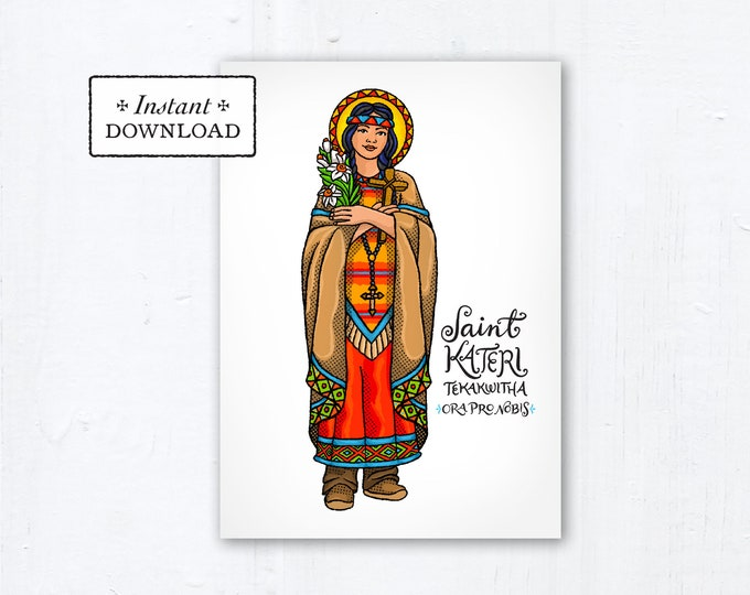 "Saint Kateri Tekakwitha Card - Art Print - Instant Download - DIY Downloadable PDF 5""x7"""