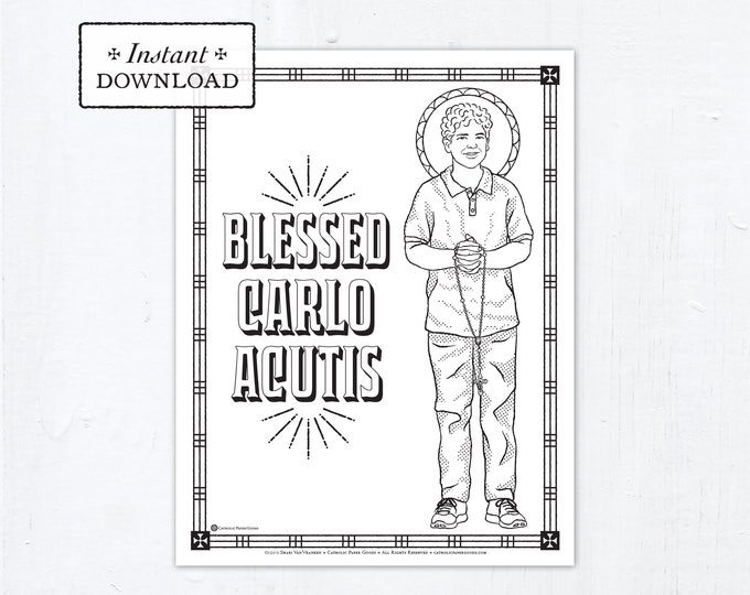 Catholic Coloring Page - Blessed Carlo Acutis - Catholic Saints - Printable Coloring Page - Digital - PDF Carlo Acutis Coloring Page