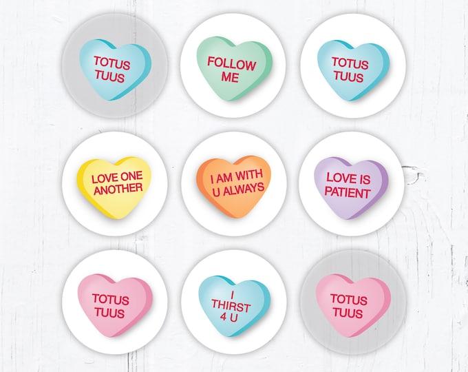 Catholic Conversation Hearts Valentine Vinyl Stickers 2 Inch Peel & Stick - Valentine Stickers - Water Resistant Circle Stickers