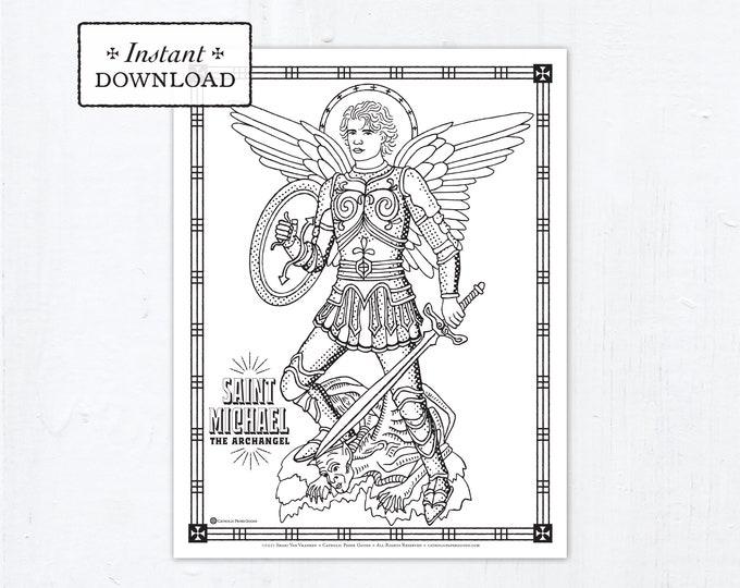 Catholic Coloring Page, Saint Michael the Archangel Coloring Page, Catholic Saints, Printable Coloring Page, Digital Coloring Page, PDF