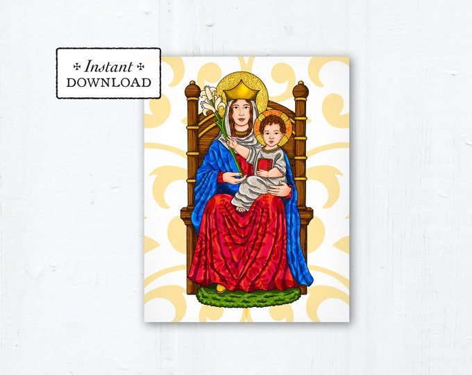 """Our Lady of Walsingham Prayer Card, Instant Download, Downloadable PDF 4.25""""x5.5"""" A2, Catholic Printable Marian Card, Marian Art"""