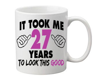27 Years Old Birthday Mug Happy Gift Coffee Cup Born In 1990 Personalized ALL AGES AVAILABLE