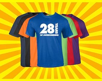 Birthday Shirt 28 Years of Awesomeness Birthday T Shirt Birthday Gift Born in 1989 Happy Birthday Tee