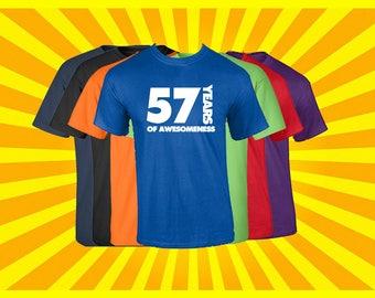 Birthday Shirt 57 Years of Awesomeness Birthday T Shirt Birthday Gift Born in 1960 Happy Birthday Tee
