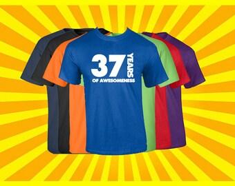 Birthday Shirt 37 Years of Awesomeness Birthday T Shirt Birthday Gift Born in 1980 Happy Birthday Tee