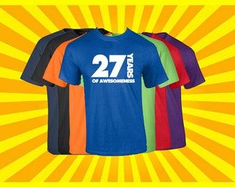Birthday Shirt 27 Years of Awesomeness Birthday T Shirt Birthday Gift Born in 1990 Happy Birthday Tee