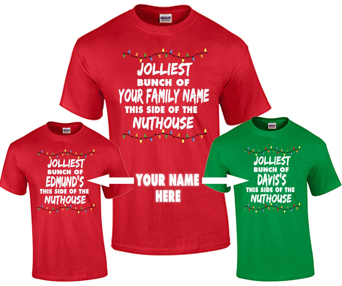 65c7ad80249 Christmas Shirt Custom Personalized Family Name T Shirt Funny