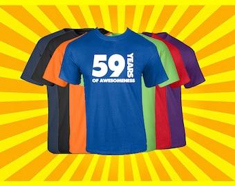 Birthday Shirt 59 Years of Awesomeness Birthday T Shirt Birthday Gift Born in 1958 Happy Birthday Tee