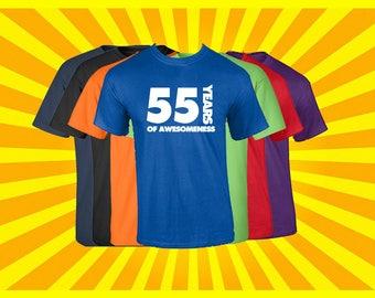 Birthday Shirt 55 Years of Awesomeness Birthday T Shirt Birthday Gift Born in 1962 Happy Birthday Tee