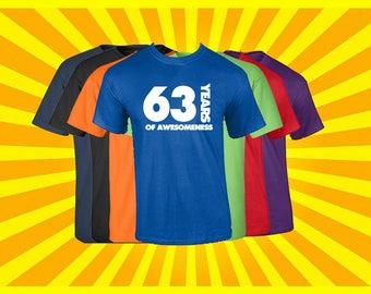 Birthday Shirt 63 Years of Awesomeness Birthday T Shirt Birthday Gift Born in 1954 Happy Birthday Tee