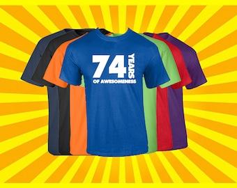 Birthday Shirt 74 Years of Awesomeness Birthday T Shirt Birthday Gift Born in 1943 Happy Birthday Tee