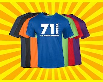 Birthday Shirt 71 Years of Awesomeness Birthday T Shirt Birthday Gift Born in 1946 Happy Birthday Tee