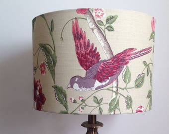 30cm Drum Table Lampshade in Laura Ashley Summer Palace - Cranberry