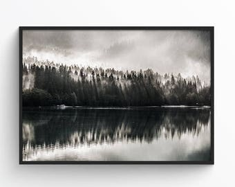 Smoke and Mirrors - Digital Print - Printable Art - Nature - Landscape - Lake - Mountains - Winter - Foggy - Minimal - Modern - Minimalist