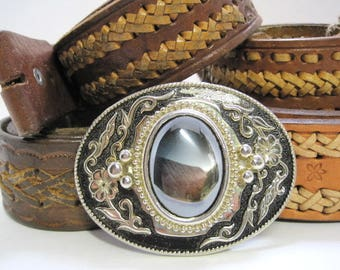 Vintage, Belt Buckle, Western, Rockabilly, Style with Hematite, Stone, Silver and Gold Filgree and Black Background, Heavy, Father's Day