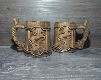 Personalized wooden beer mug, Prancin Pony, Groomsman gift, Personalized beer mug, 22oz, Personalized gift, Custom engraving tankard