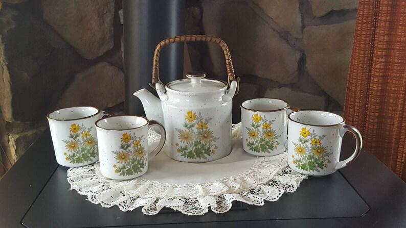 image 0 ... & Vintage Takahashi Tea Set Tea Cups and Tea Pot Stoneware | Etsy