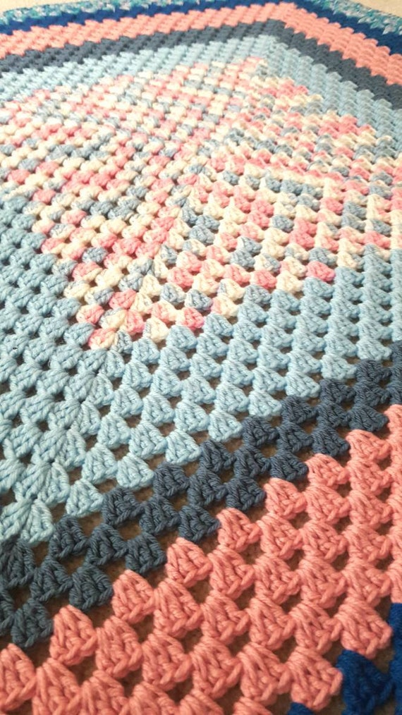 Crochet Blanket Blue And Pink Vintage Blanket Handmade Etsy