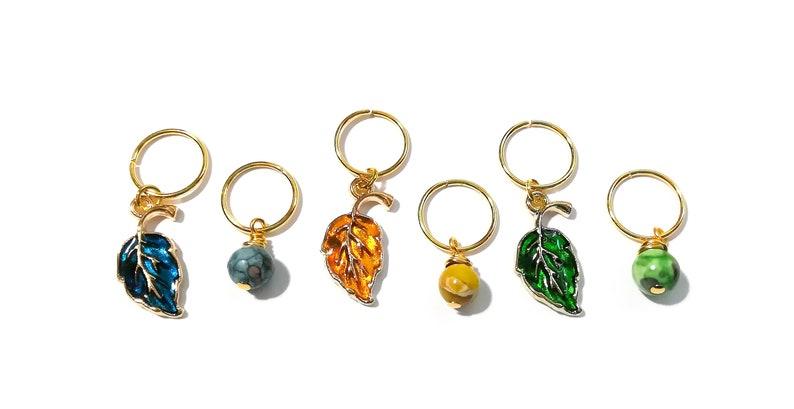Dread Beads Sisterlocks Boho Hair Jewelry Gemstone /& Leaf Charm Hair Jewelry Set Braid Rings Hair Hoops Loc Jewelry Hair Beads