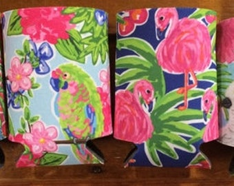 Monogrammed Tropical Drink Coozies