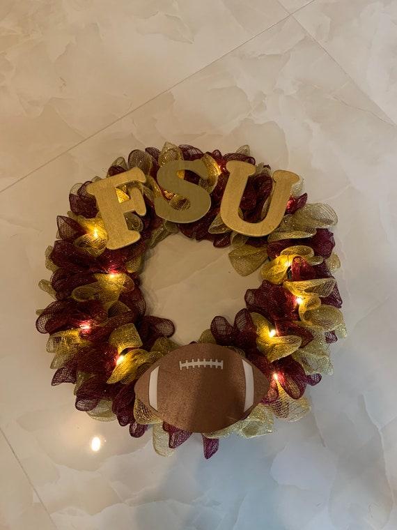 College Wreath Florida State University, Sports wreath,Florida wreath Deco mesh Florida State University wreath,FSU wreath College wreath