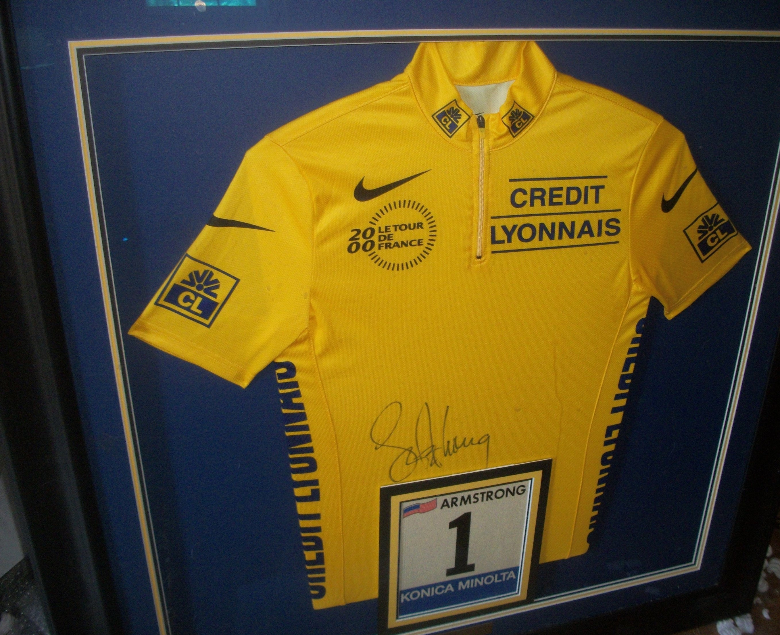 Lance Armstrong Signed USPS Tour de France (2000) Nike Yellow Jersey 38x38  Custom Framed Display   TDF  1 Bib Race Number   (Includes COA) 6a9eb2b13