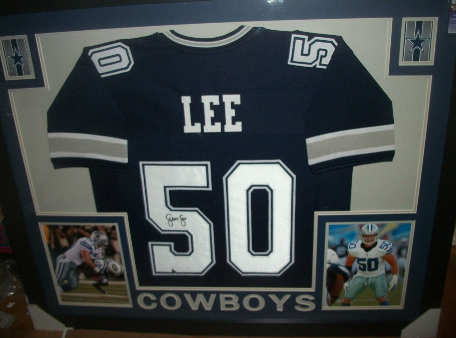low priced 28250 dc7a5 Sean Lee Signed Dallas Cowboys 35x43 Custom Framed Jersey ...