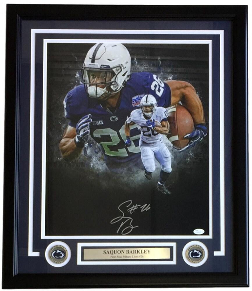 3d364972303 Saquon Barkley Signed Penn State Nittany Lions 22x27 Custom Framed 16x20  Photo Display New York Giants Future Superstar! (JSA COA) #SD38967