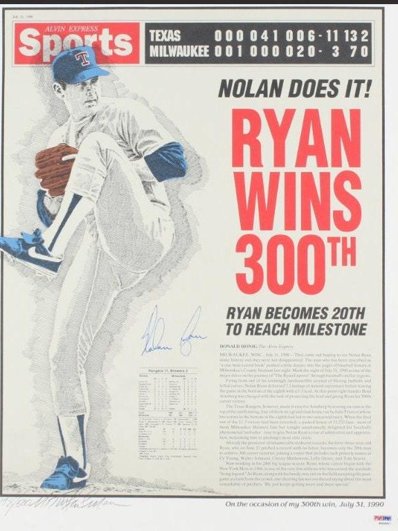 Nolan Ryan Signed 300th Win Commemorative 16x20 Photo
